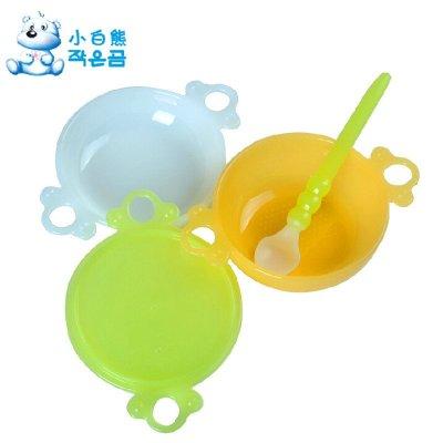 小白熊婴儿研磨餐具 4件套装 宝宝研磨碗勺组 辅食料理餐具09062