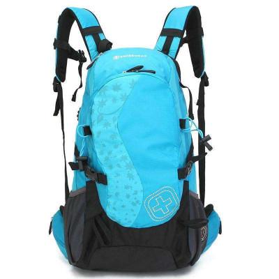 瑞士军刀SWISSGEAR 登山包 双肩背包休闲运动户外包 防泼水专用格子面料30L配防雨罩JP3002蓝色
