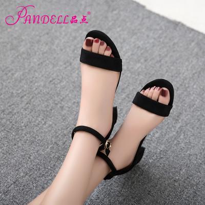 品点2017新款中跟低跟粗跟露趾一字扣带夏季韩版罗马欧美大码潮凉鞋女