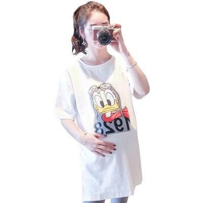 孕妇白色t恤长款短袖女夏装新款宽松大码t恤韩版卡通打底上衣潮妈