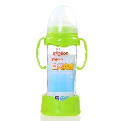 叶子宝宝 贝亲布朗博士宽口玻璃奶瓶把手防摔器/保护套 绿色(适用贝亲)