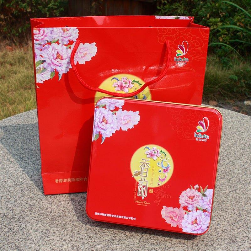 绿安 大香韵月饼 蛋黄莲蓉月饼 红豆月饼 600g 月饼礼盒 中秋送礼佳品